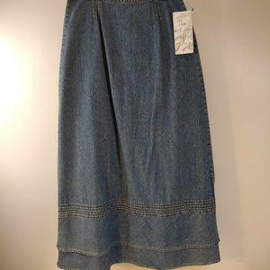 J Jill Womens Skirt Size 8 Blue Jean Denim Long